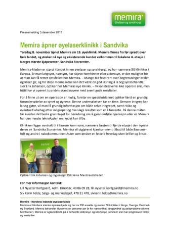 Memira åpner øyelaserklinikk i Sandvika