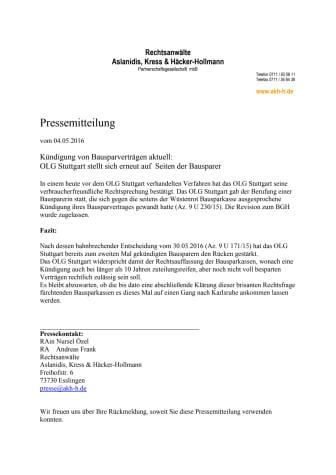 Kündigung von Bausparverträgen aktuell - OLG Stuttgart stellt sich erneut auf Seiten der Bausparer