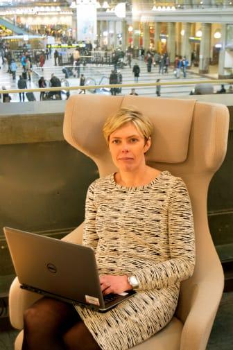 Arbetsstund i SJs lounge på Stockholm C.