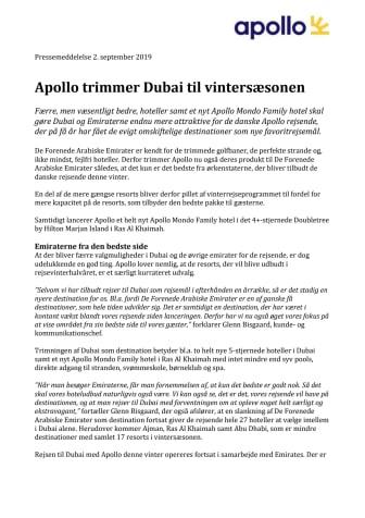 Apollo trimmer Dubai til vintersæsonen