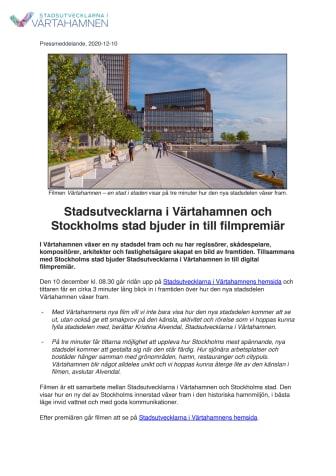 Stadsutvecklarna i Värtahamnen och Stockholms stad bjuder in till filmpremiär