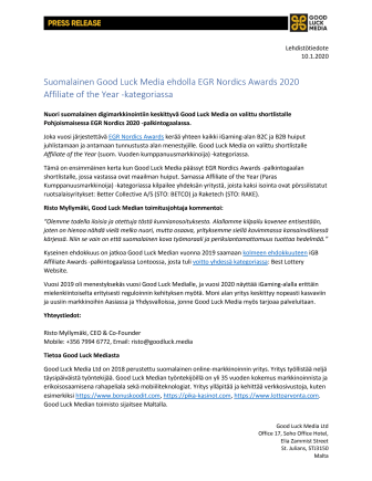 Lehdistötiedote Good Luck Media Ltd 10.1.2020 - Press Release