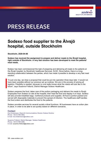 Sodexo food supplier to the Älvsjö hospital, outside Stockholm