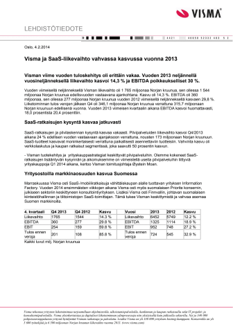 Visma ja SaaS-liikevaihto vahvassa kasvussa vuonna 2013