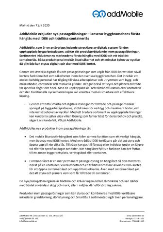 Pressmeddelande: AddMobile erbjuder nya passagelösningar