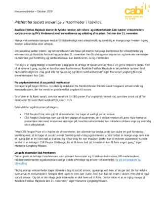Prisfest i Roskilde for socialt ansvarlige virksomheder