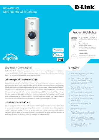 Datablad, D-Link DCS-8000LHV2 mini Full-HD Wi-Fi kamera