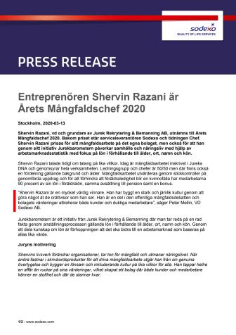 Entreprenören Shervin Razani är Årets Mångfaldschef 2020