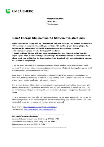 Umeå Energis film nominerad till flera nya stora pris