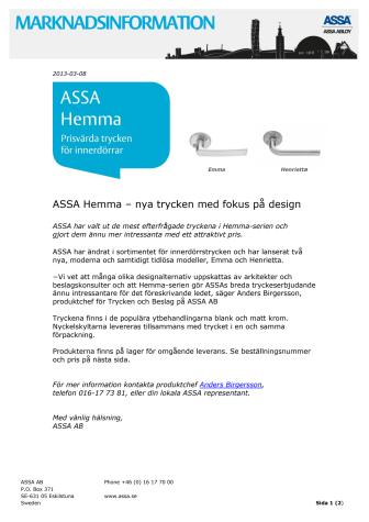 ASSA Hemma – nya trycken med fokus på design