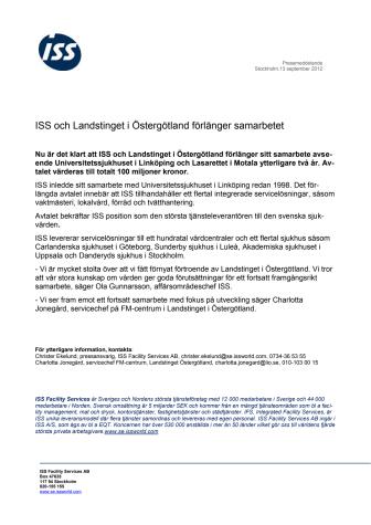 ISS och Landstinget i Östergötland förlänger samarbetet