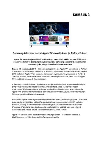 Samsung-televisiot saivat Apple TV -sovelluksen ja AirPlay 2 -tuen