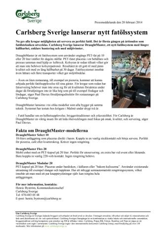Carlsberg Sverige lanserar nytt fatölssystem