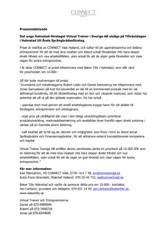 Virtual Trainer  Årets Språngbrädesföretag i Halland