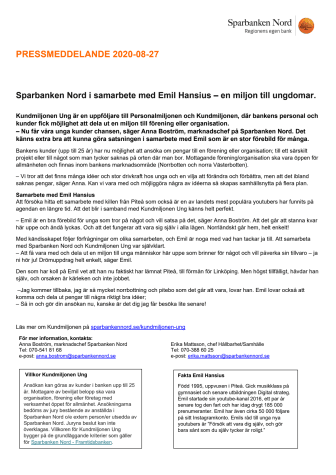 Sparbanken Nord i samarbete med Emil Hansius - en miljon till ungdomar.