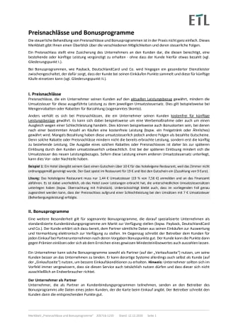 Merkblatt Gutscheine, Rabatte, Preisnachlässe und Bonusprogramme