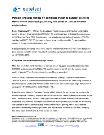 Persian-language Manoto TV completes switch to Eutelsat satellites