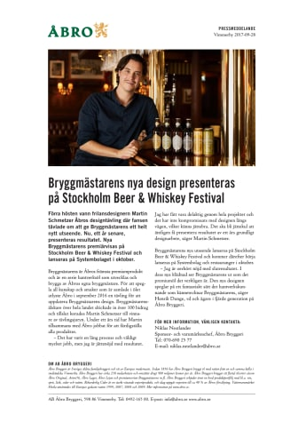 Bryggmästarens nya design presenteras på Stockholm Beer & Whisky Festival