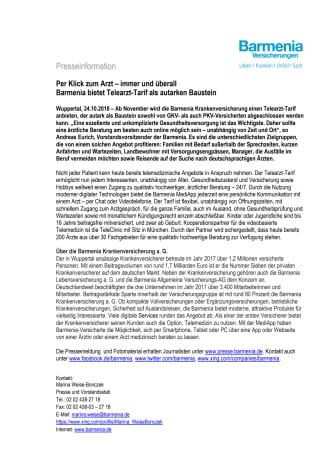 Per Klick zum Arzt – immer und überall   -   Barmenia bietet Telearzt-Tarif als autarken Baustein