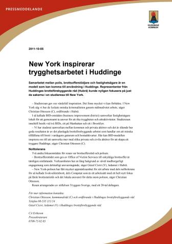 New York inspirerar trygghetsarbetet i Huddinge