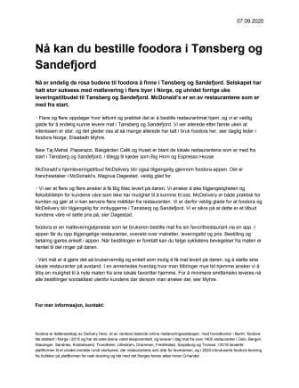 Nå kan du bestille foodora i Tønsberg og Sandefjord