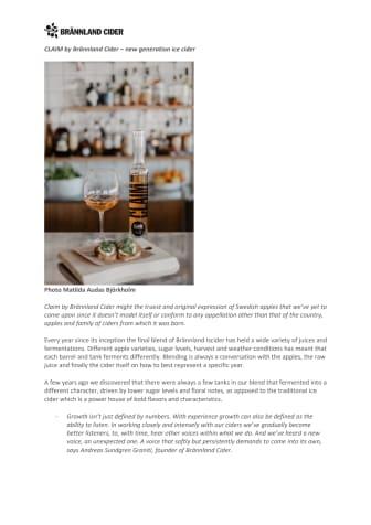Claim by Brännland Cider, A New Generation Ice Cider
