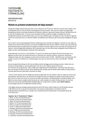Malmö en prisvärd studentstad att köpa bostad i