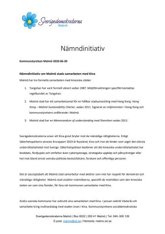 Malmö stad måste avbryta samarbetet med Kina