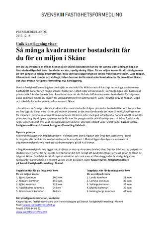 Unik kartläggning visar: Så många kvadratmeter bostadsrätt får du för en miljon i Skåne