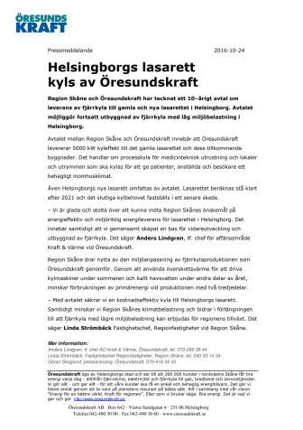 Helsingborgs lasarett kyls av Öresundskraft