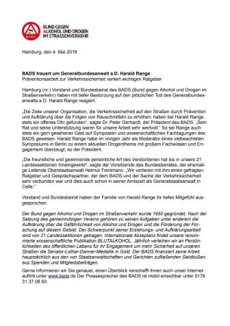 BADS trauert um Generalbundesanwalt a.D. Harald Range