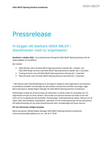 Vi bygger ett starkare ASSA ABLOY i Skandinavien med ny organisation