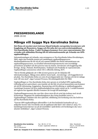 Många vill bygga Nya Karolinska Solna