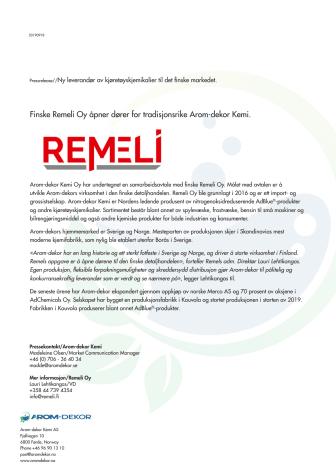 Finske Remeli Oy åpner dører for tradisjonsrike Arom-dekor Kemi.