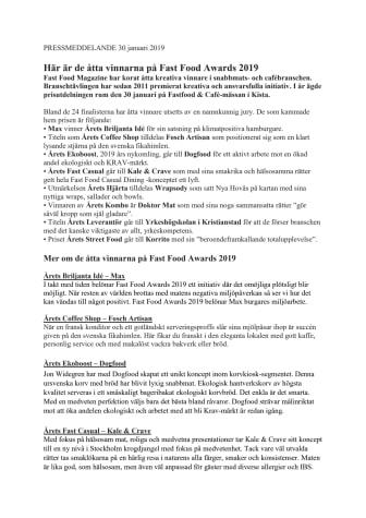 Här är de åtta vinnarna på Fast Food Awards 2019