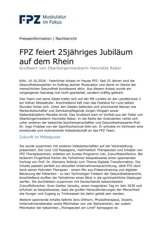 FPZ feiert 25jähriges Jubiläum auf dem Rhein -  Grußwort von Oberbürgermeisterin Henriette Reker