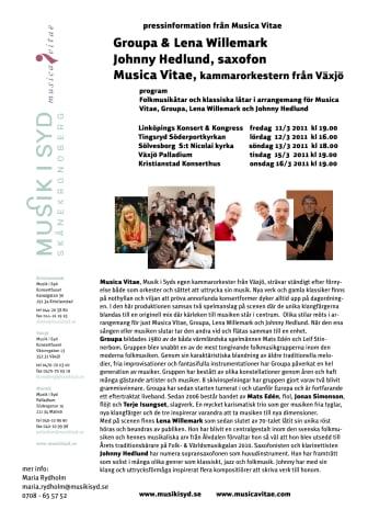 Groupa & Lena Willemark spelar med Musica Vitae och Johnny Hedlund