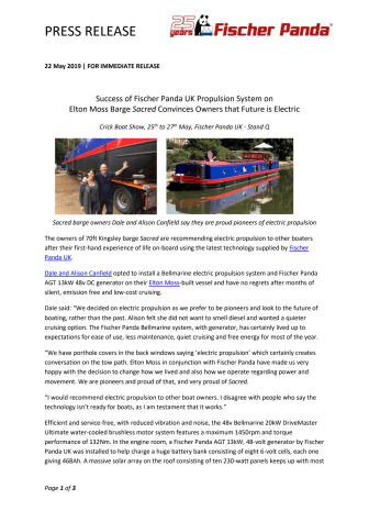 Success of Fischer Panda UK Propulsion System on Elton Moss Barge Sacred Convinces Owners that Future is Electric