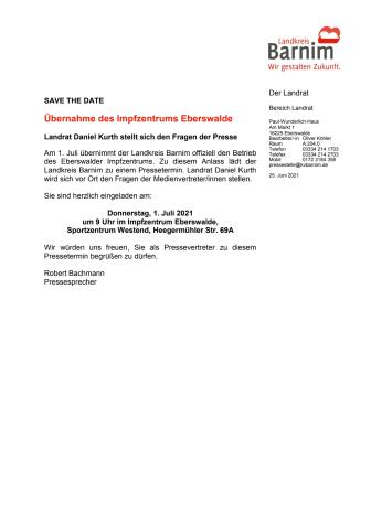 Übernahme des Impfzentrums Eberswalde