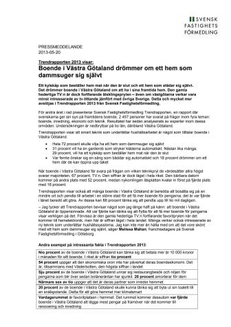 Trendrapporten 2013 visar: Boende i Västra Götaland drömmer om ett hem som dammsuger sig självt