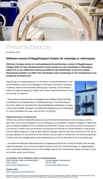 Elitfönster ansluter till Byggföretagens Färdplan för nollutsläpp av växthusgaser