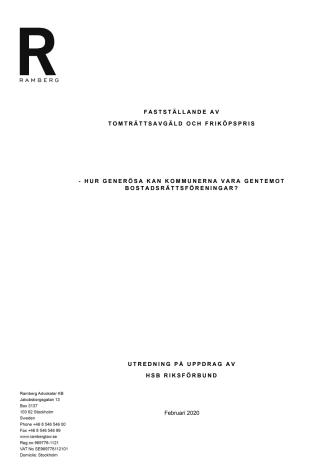 Tomträttsutredning HSB Riksförbund 2020