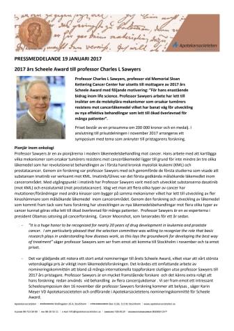 2017 års Scheele Award till professor Charles L Sawyers