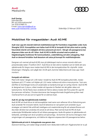 Mobilitet för megastäder: Audi AI:ME