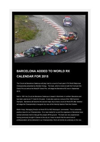 Barcelona adderas till kalendern för World Rallycross Championship 2015