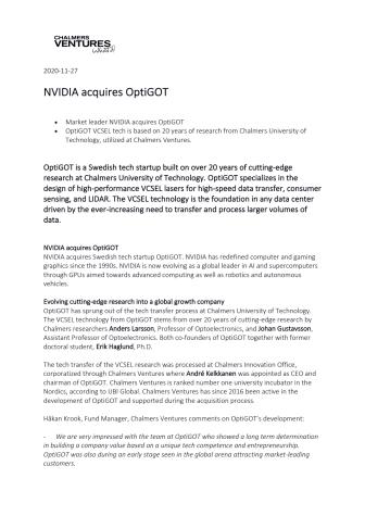 ENGLISH - Pressrelease OptiGOT Chalmers Ventures NVIDIA 2020.pdf