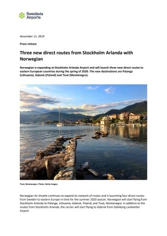 Three new direct routes from Stockholm Arlanda with Norwegian