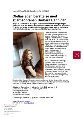 Ofelias egen berättelse med stjärnsopranen Barbara Hannigan