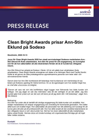 Clean Bright Awards prisar Ann-Stin Eklund på Sodexo