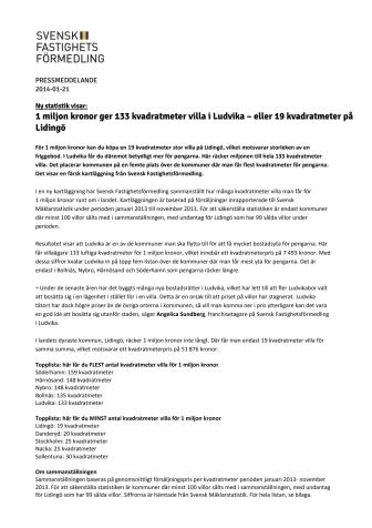 1 miljon kronor ger 133 kvadratmeter villa i Ludvika – eller 19 kvadratmeter på Lidingö